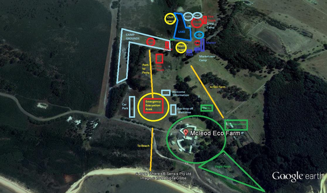 Google earth picture of Festival le Frog site and Mcleod Eco Farm on French Island. Map shows vaious areas including camp ground, vegie patch, Main Stage, market etc.