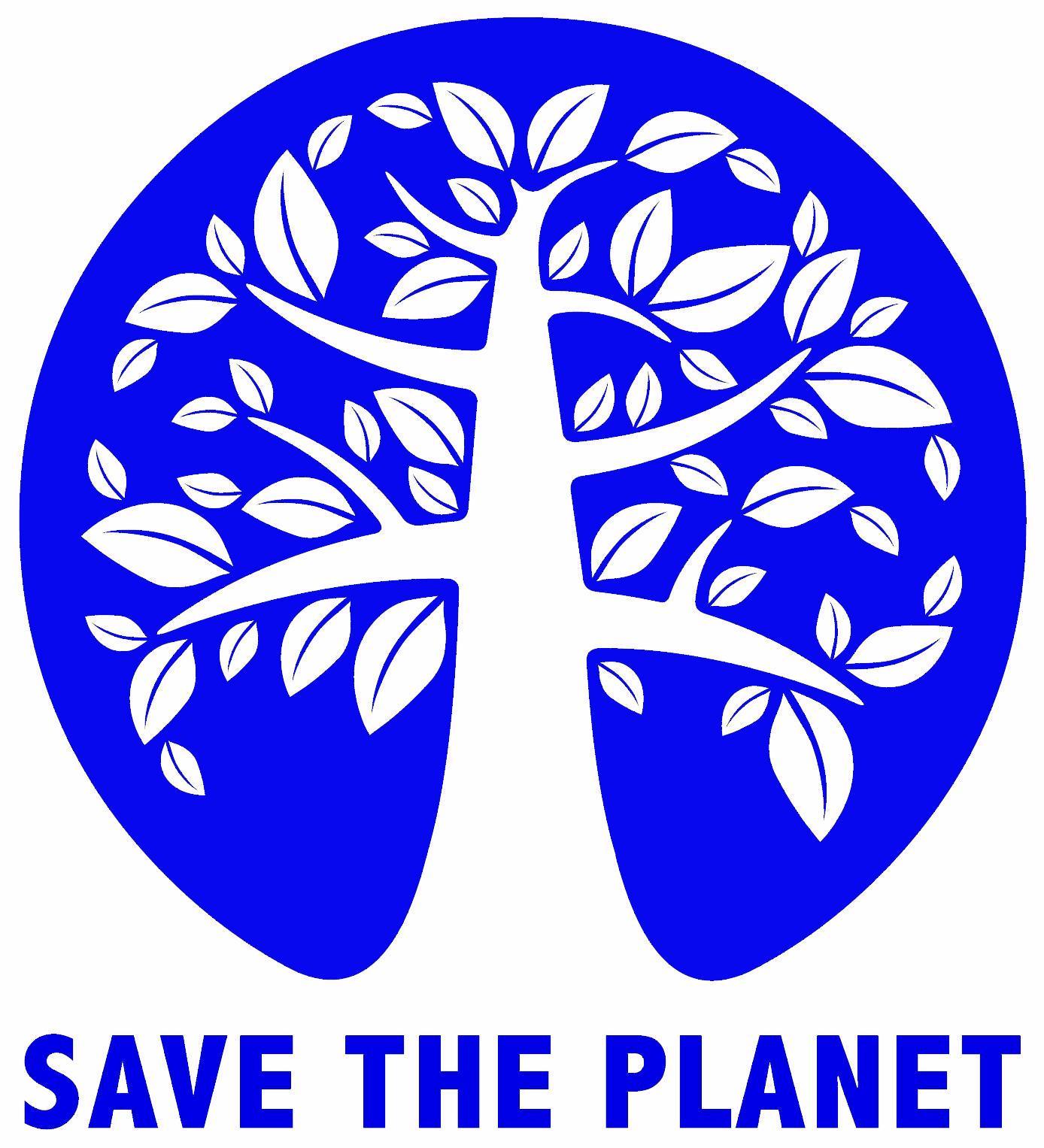Save the Planet logo in bright light green. Features a white tree on a blue circle - i.e. the planet earth, the tree symbolising life