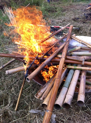 Making biochar in Japan by burning bamboo