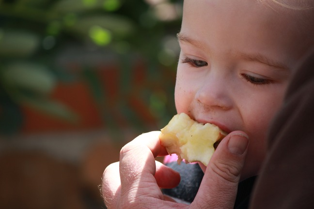Picture of Lucian eating an apple