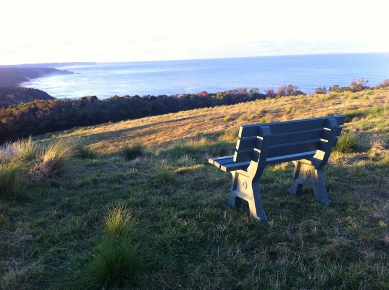 replas seat looking out to southern ocean with sthe light of the rising sun shining from the side