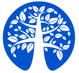 save the planet logo - white tree on blue earth